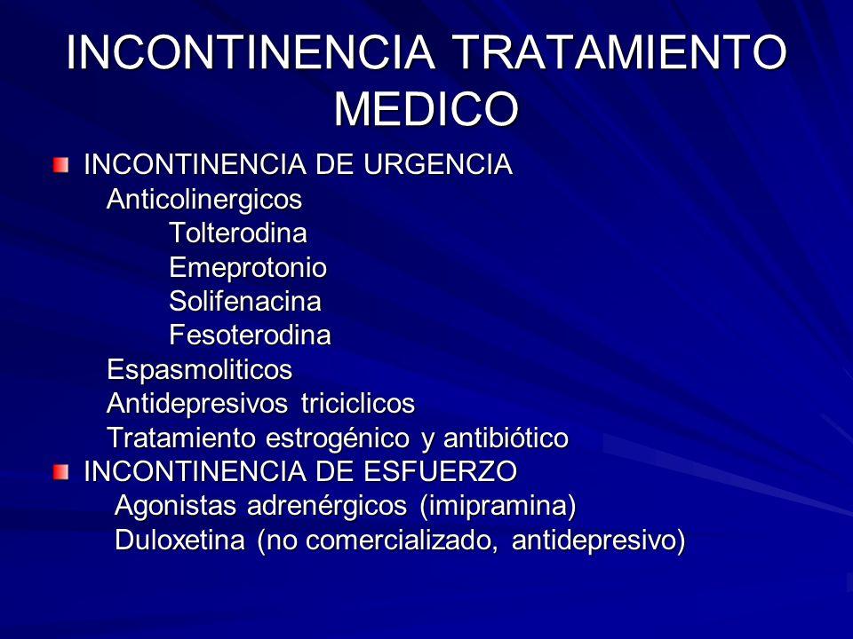 INCONTINENCIA TRATAMIENTO MEDICO