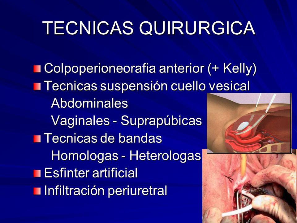 TECNICAS QUIRURGICA Colpoperioneorafia anterior (+ Kelly)