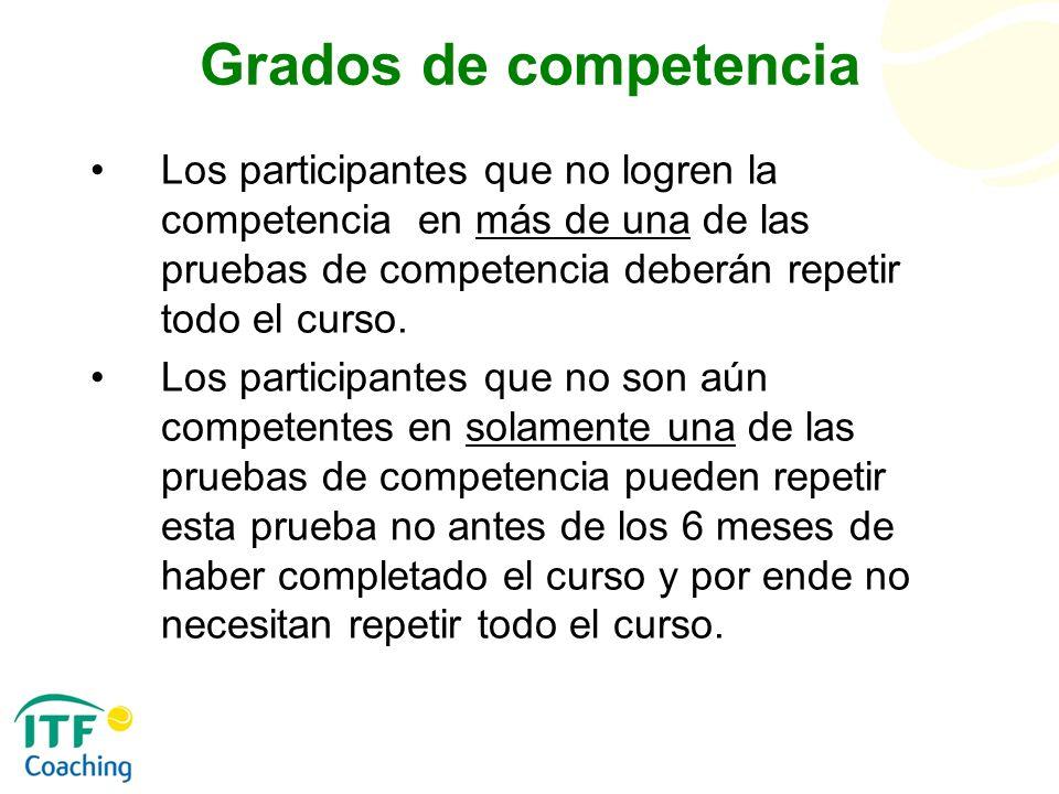 Grados de competencia Los participantes que no logren la competencia en más de una de las pruebas de competencia deberán repetir todo el curso.