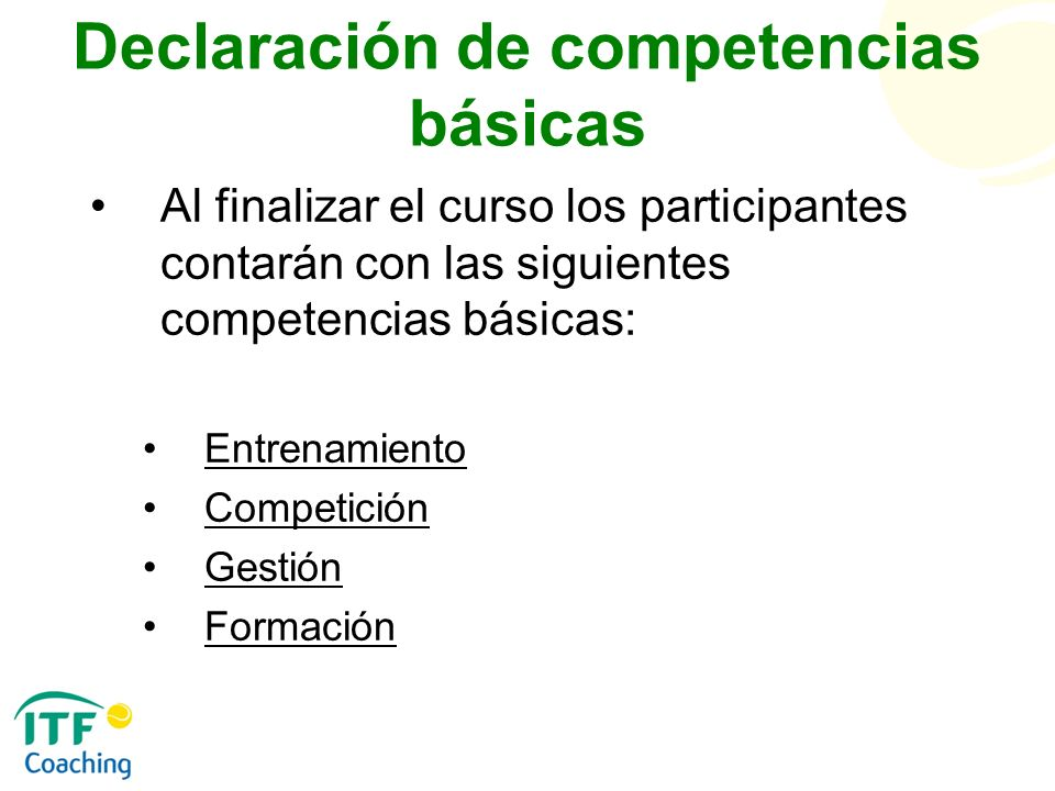Declaración de competencias básicas