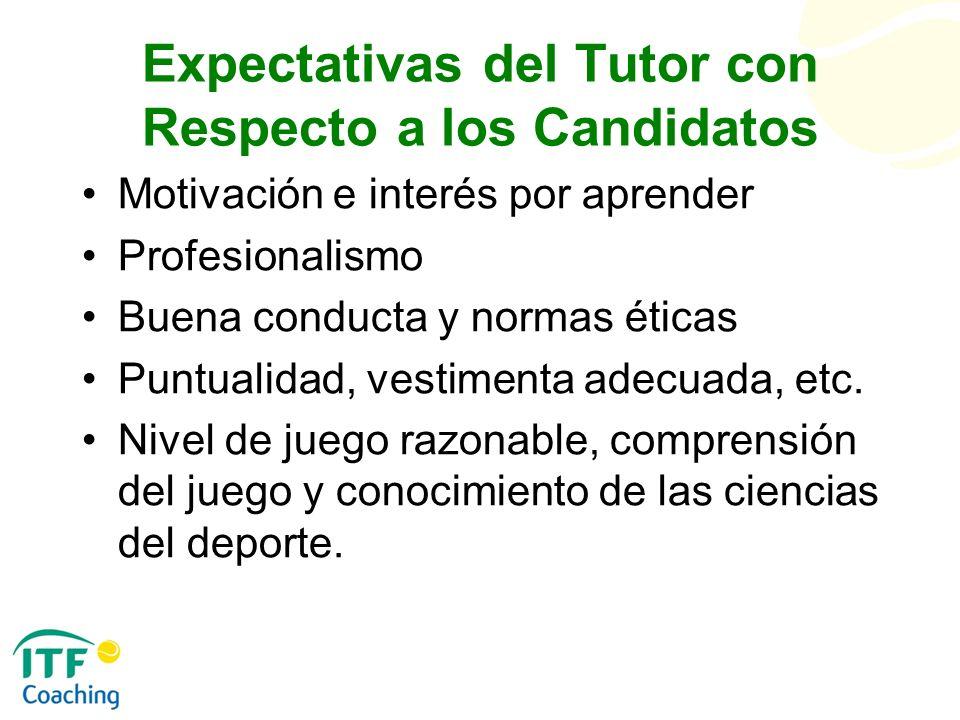 Expectativas del Tutor con Respecto a los Candidatos