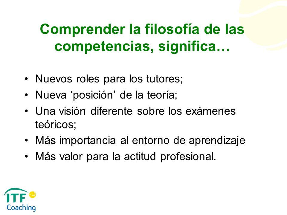 Comprender la filosofía de las competencias, significa…