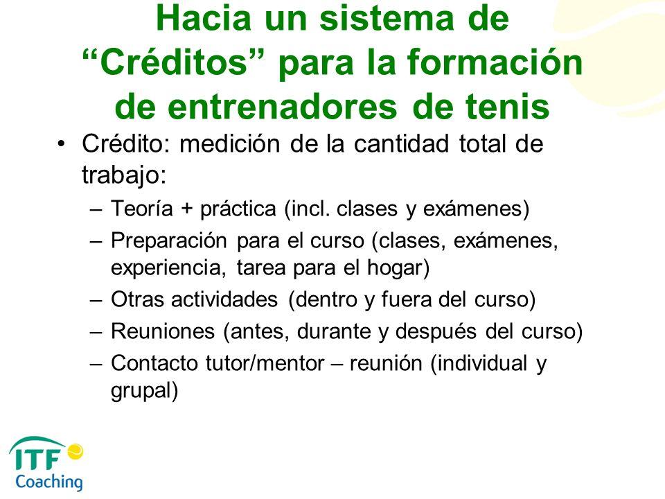 Hacia un sistema de Créditos para la formación de entrenadores de tenis