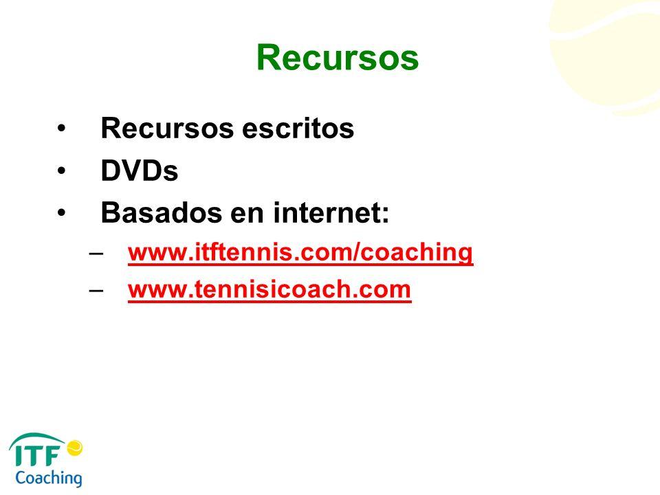 Recursos Recursos escritos DVDs Basados en internet: