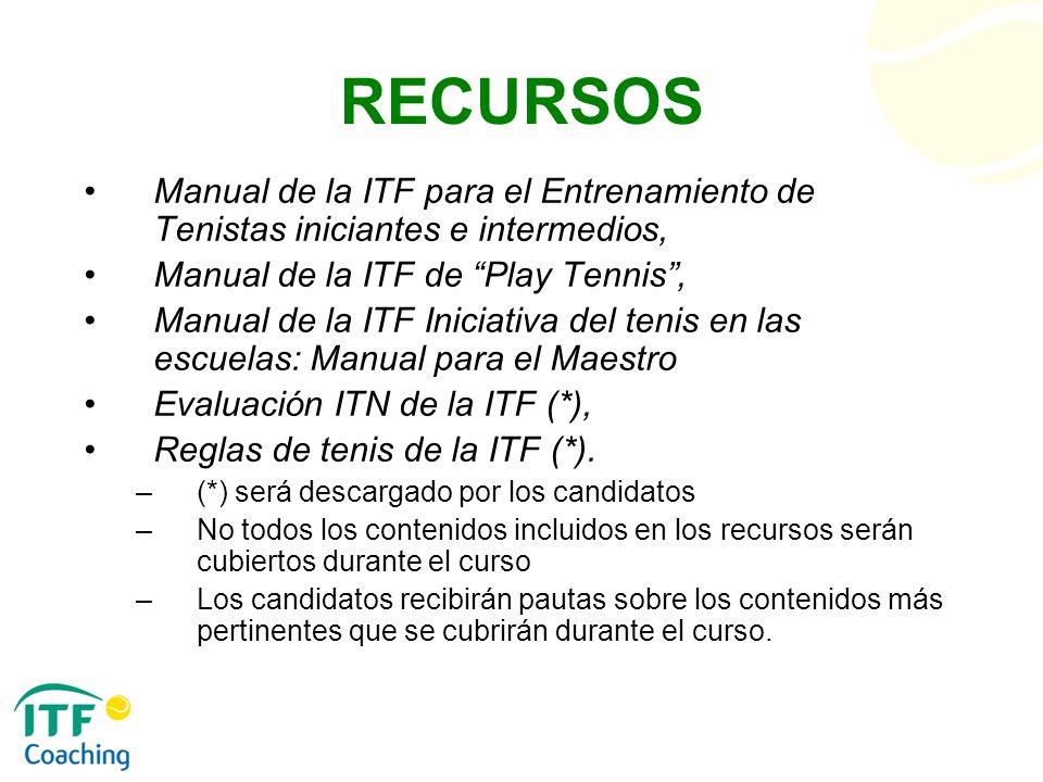 RECURSOS Manual de la ITF para el Entrenamiento de Tenistas iniciantes e intermedios, Manual de la ITF de Play Tennis ,