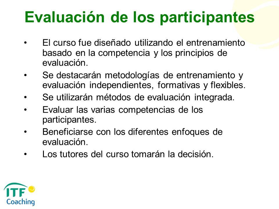 Evaluación de los participantes