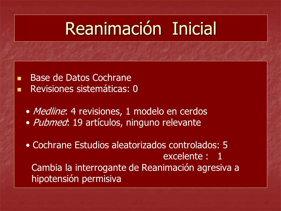Reanimación Inicial Base de Datos Cochrane Revisiones sistemáticas: 0
