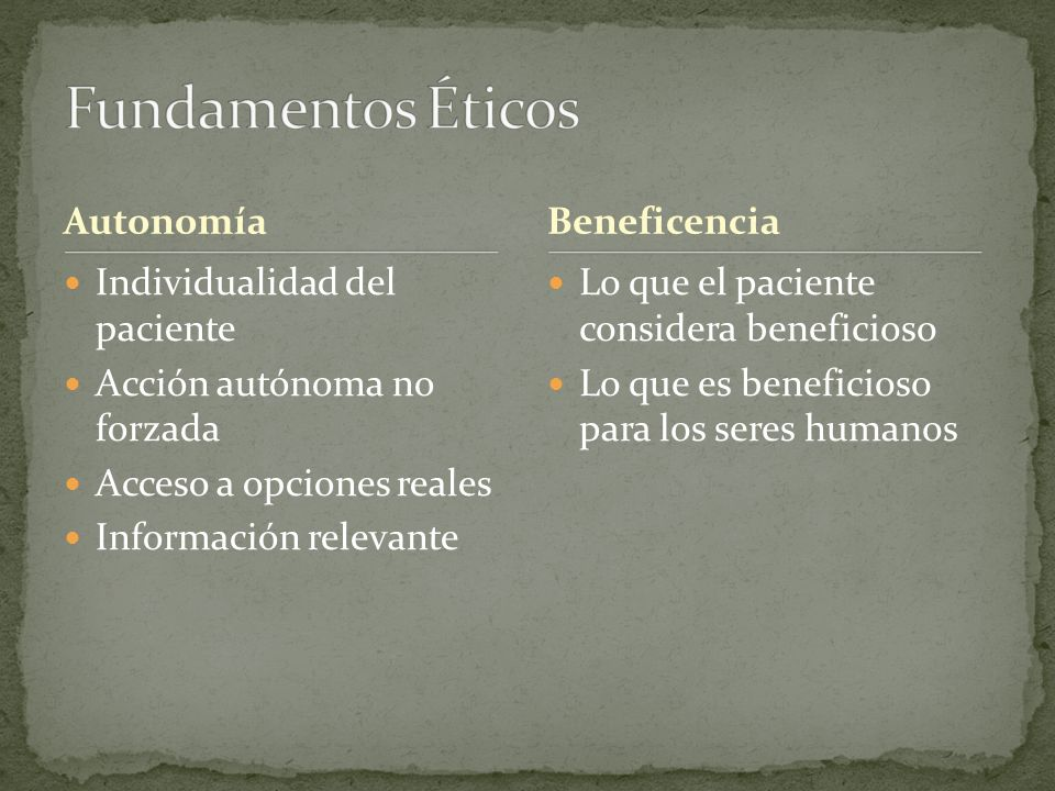 Fundamentos Éticos Autonomía Beneficencia Individualidad del paciente