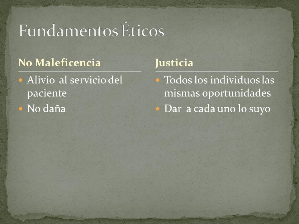 Fundamentos Éticos No Maleficencia Justicia