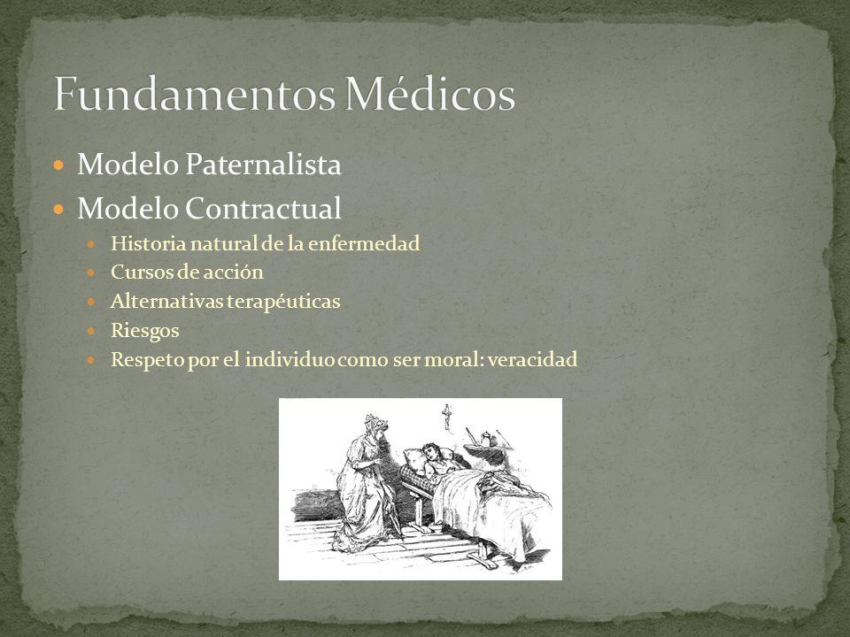 Fundamentos Médicos Modelo Paternalista Modelo Contractual