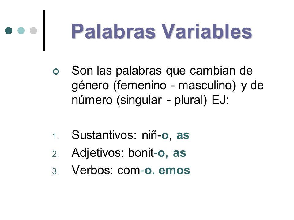 Palabras Variables Son las palabras que cambian de género (femenino - masculino) y de número (singular - plural) EJ: