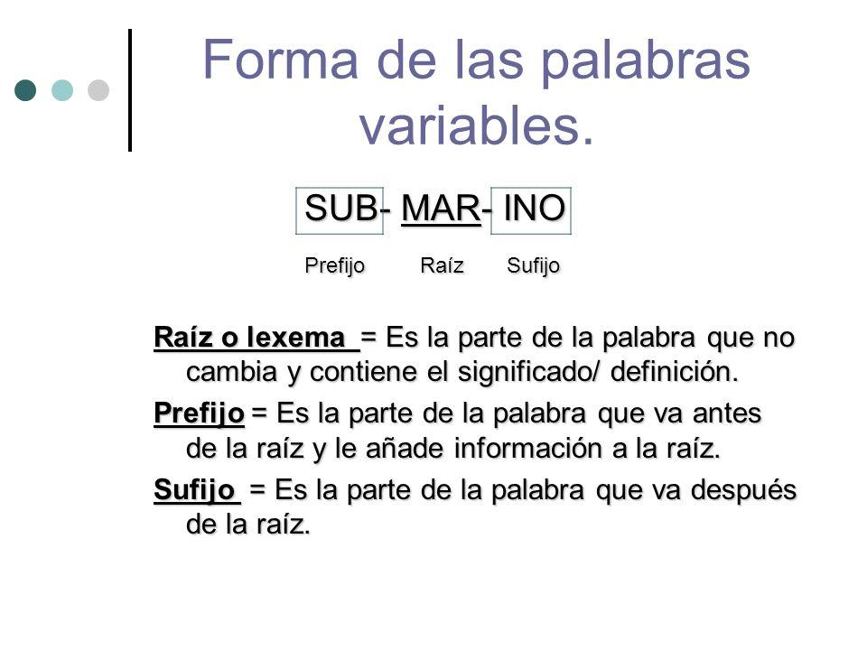 Forma de las palabras variables.