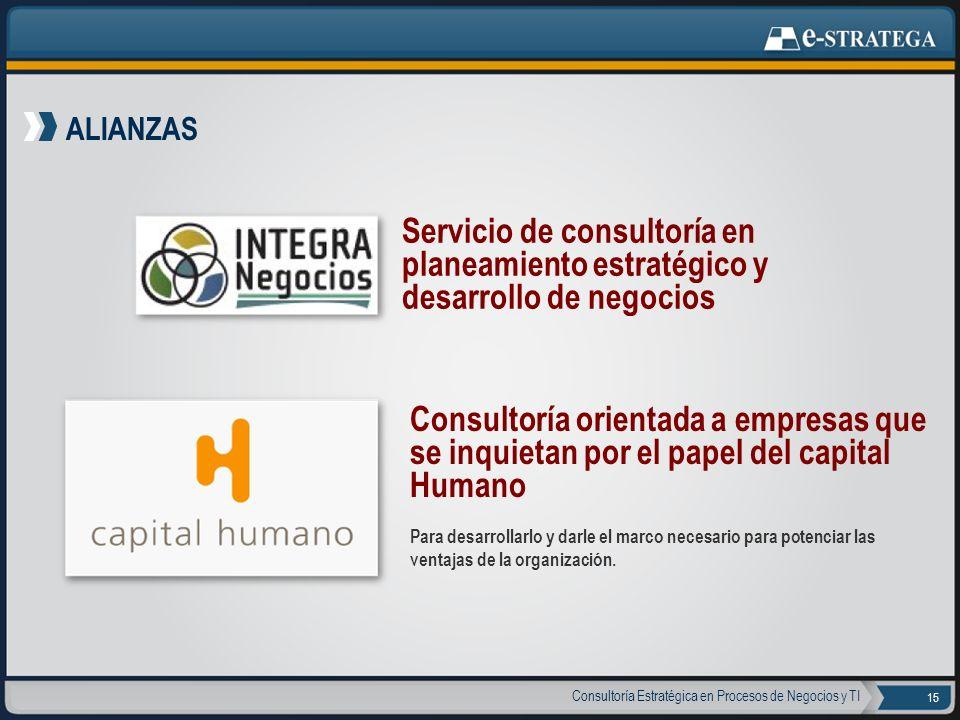 ALIANZAS Servicio de consultoría en planeamiento estratégico y desarrollo de negocios.