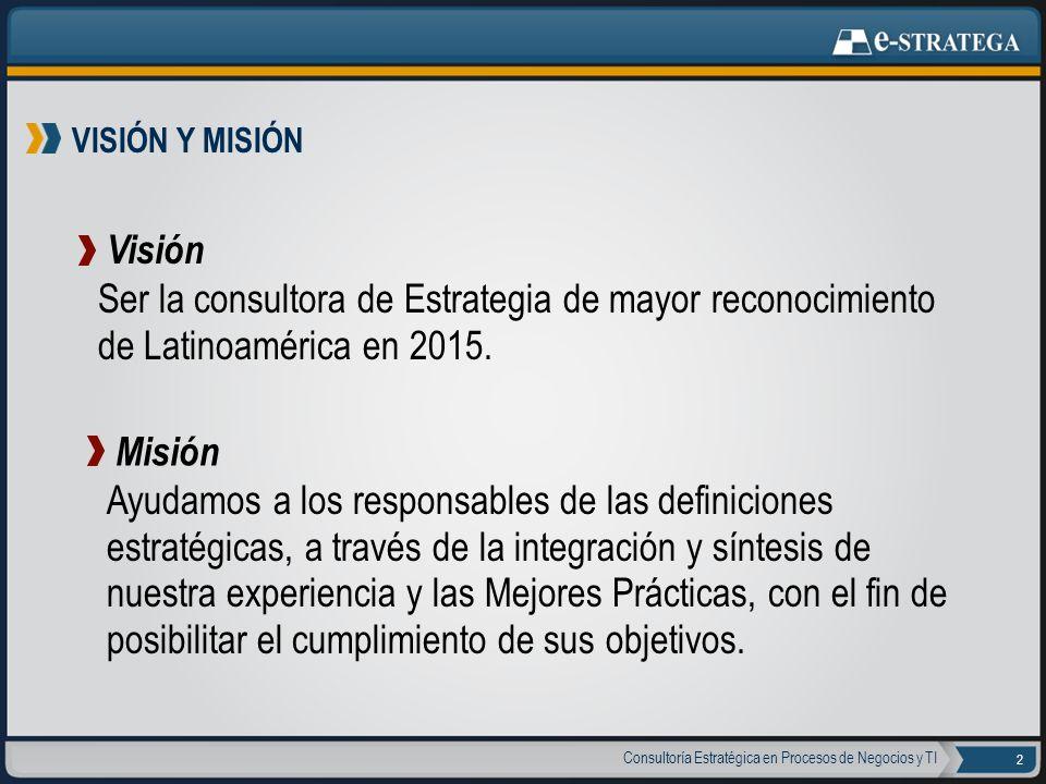 VISIÓN Y MISIÓN Visión. Ser la consultora de Estrategia de mayor reconocimiento de Latinoamérica en 2015.