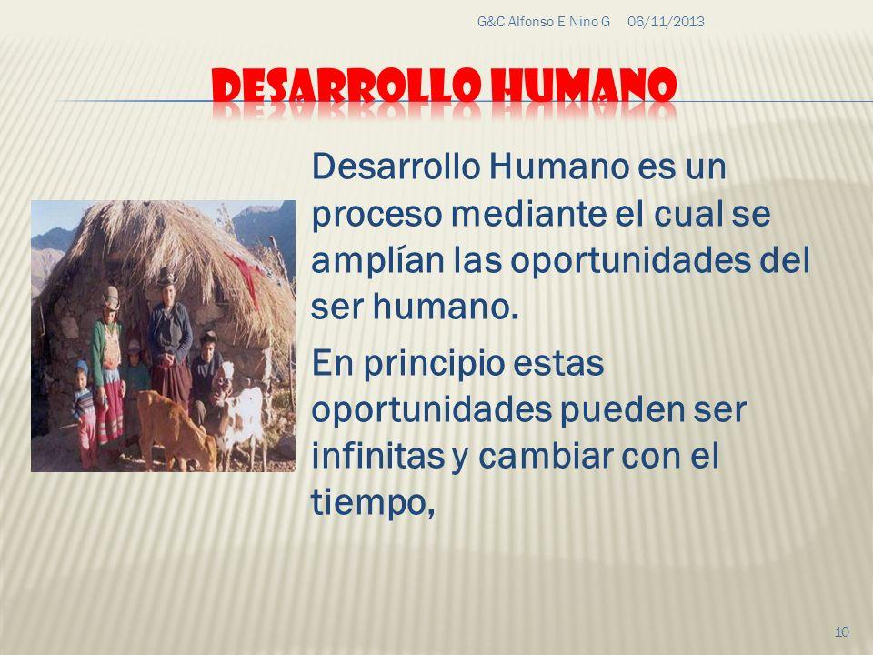 G&C Alfonso E Nino G 23/03/2017. DESARROLLO HUMANO. Desarrollo Humano es un proceso mediante el cual se amplían las oportunidades del ser humano.