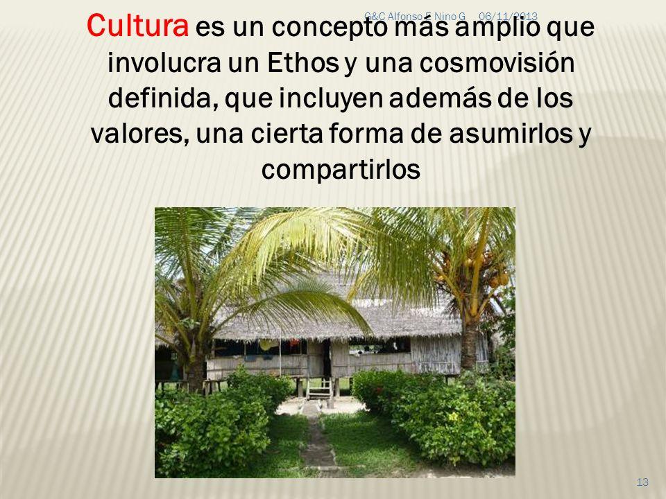 Cultura es un concepto más amplio que involucra un Ethos y una cosmovisión definida, que incluyen además de los valores, una cierta forma de asumirlos y compartirlos