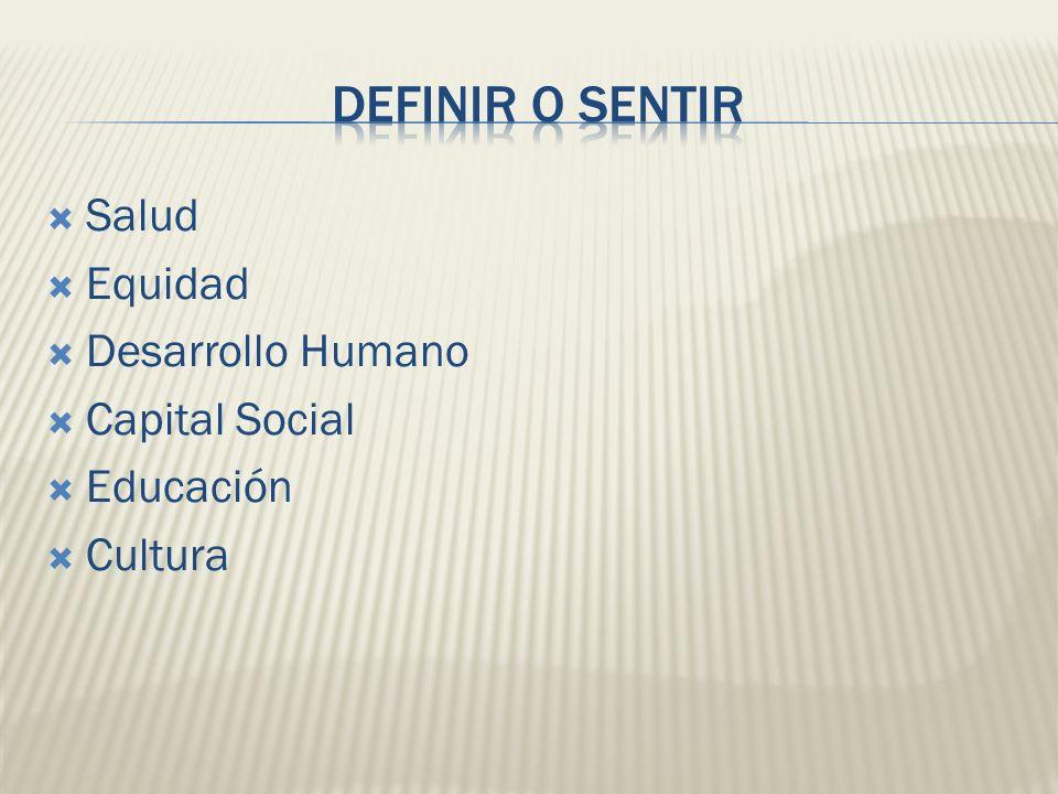 DEFINIR o SENTIR Salud Equidad Desarrollo Humano Capital Social