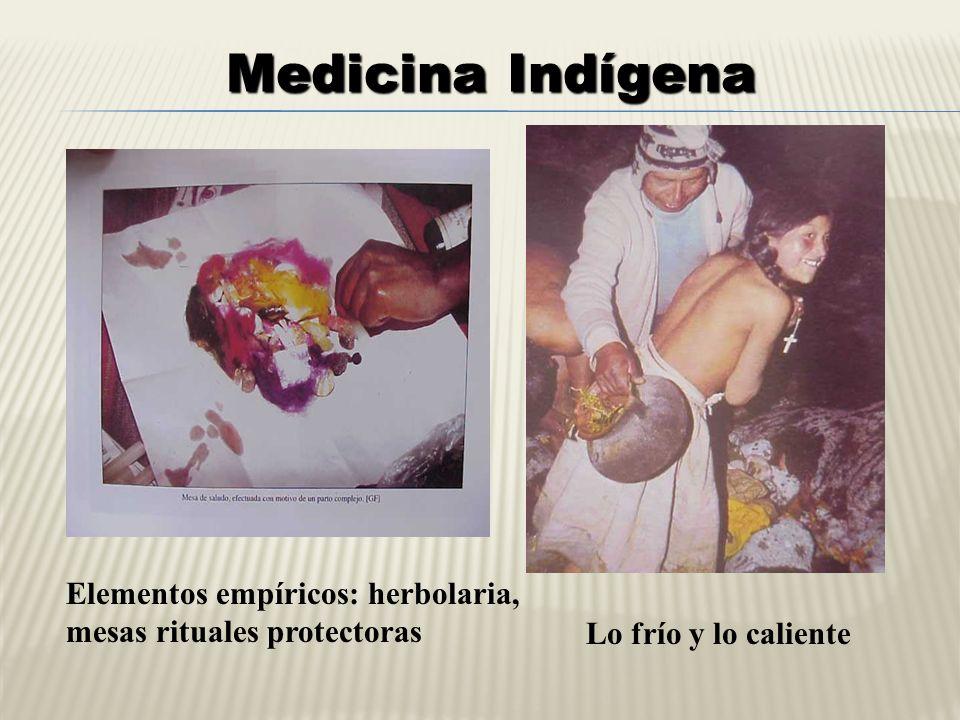 Medicina Indígena Elementos empíricos: herbolaria,