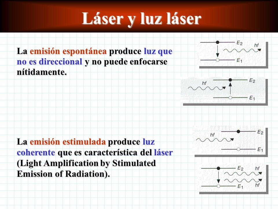 Láser y luz láser La emisión espontánea produce luz que no es direccional y no puede enfocarse nítidamente.