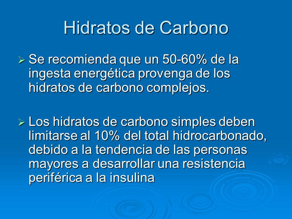 Hidratos de Carbono Se recomienda que un 50-60% de la ingesta energética provenga de los hidratos de carbono complejos.