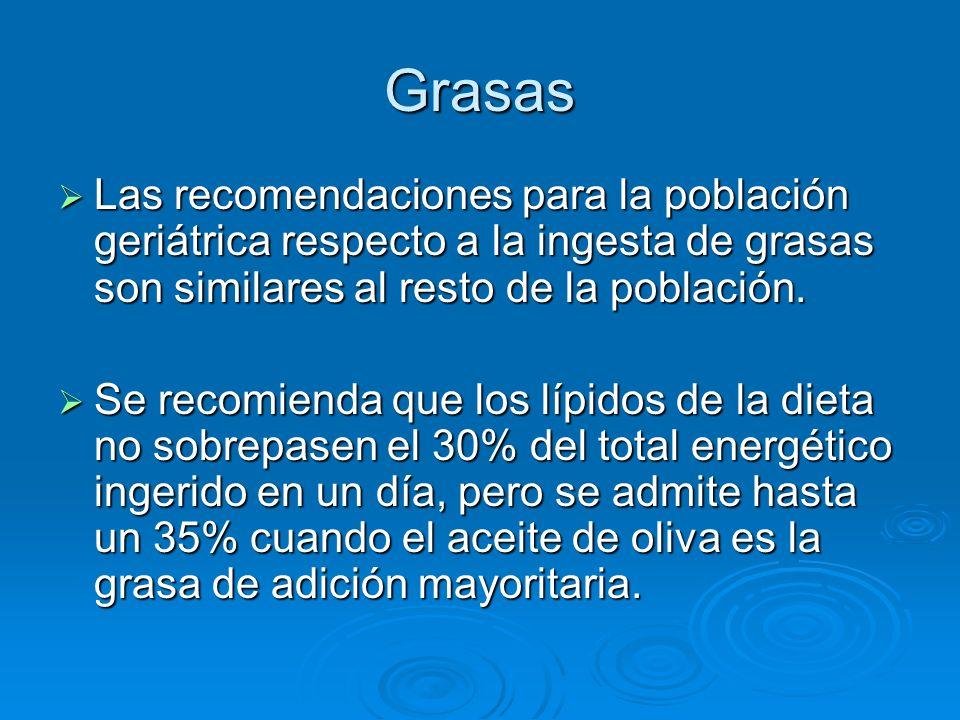 Grasas Las recomendaciones para la población geriátrica respecto a la ingesta de grasas son similares al resto de la población.