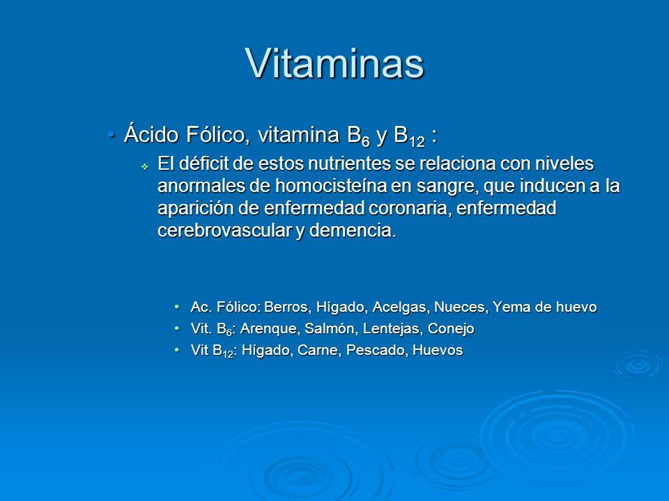 Vitaminas Ácido Fólico, vitamina B6 y B12 :
