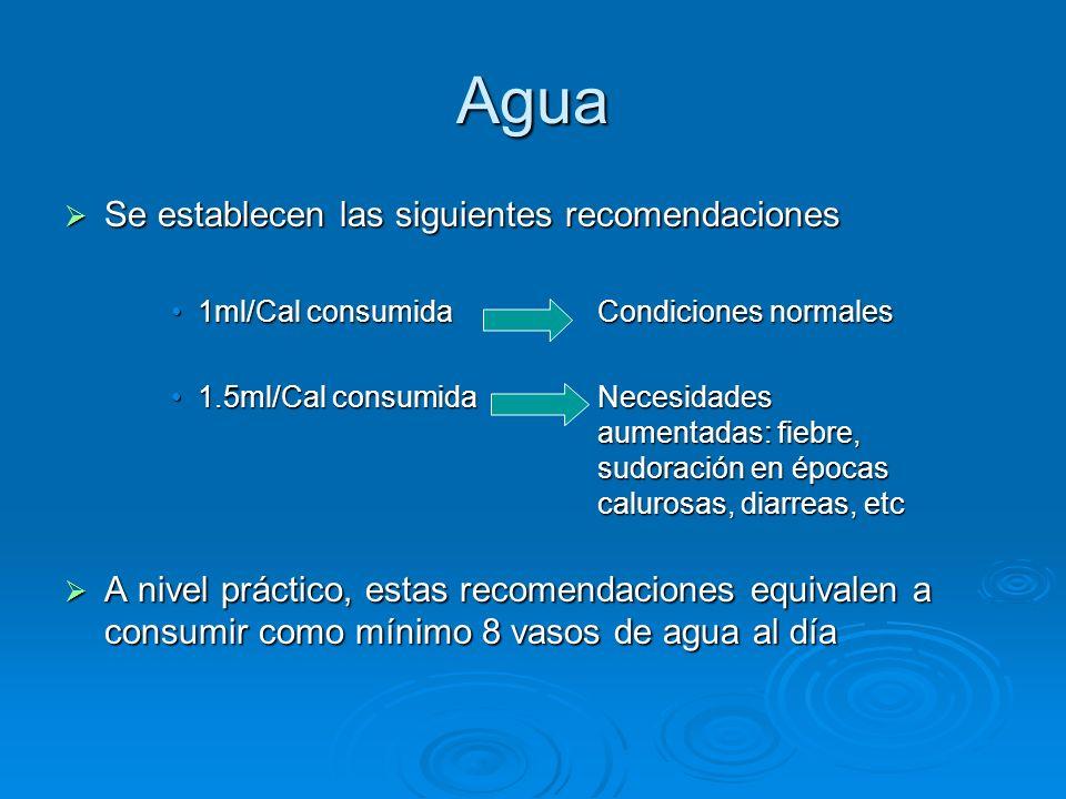 Agua Se establecen las siguientes recomendaciones
