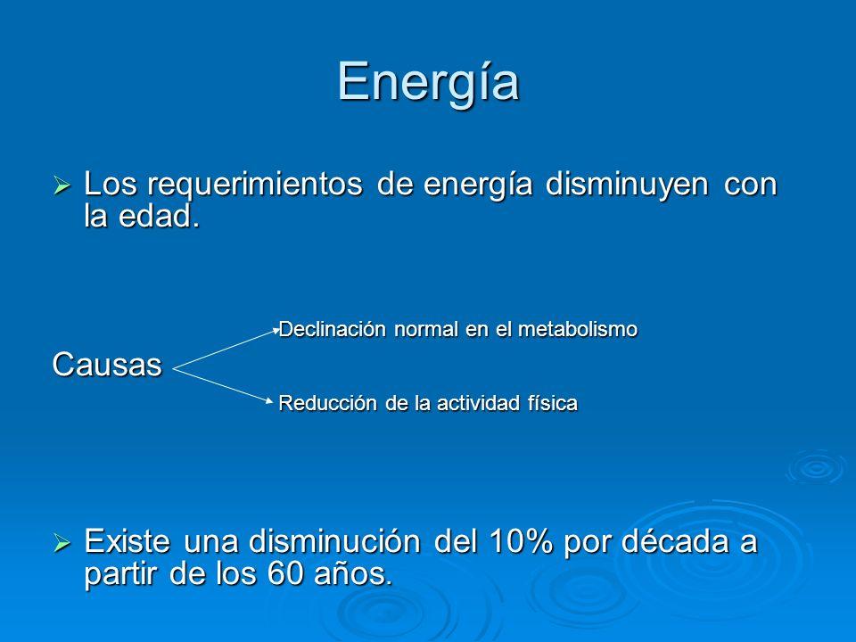 Energía Los requerimientos de energía disminuyen con la edad. Causas