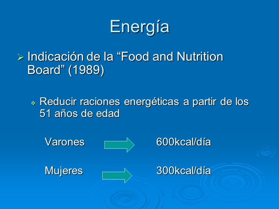 Energía Indicación de la Food and Nutrition Board (1989)