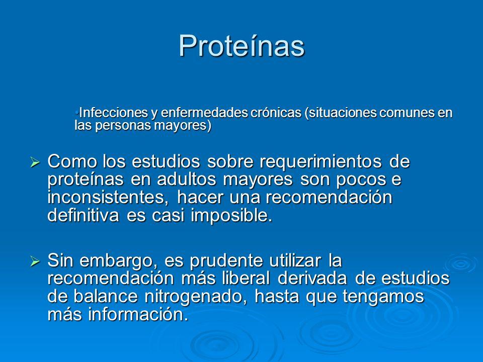 Proteínas Infecciones y enfermedades crónicas (situaciones comunes en las personas mayores)