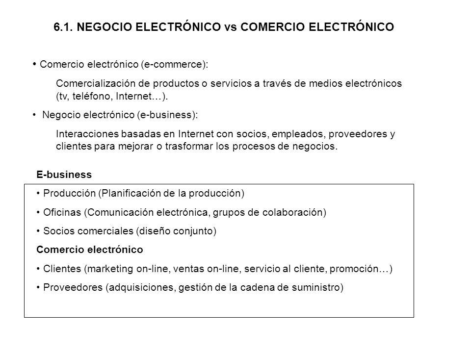 6.1. NEGOCIO ELECTRÓNICO vs COMERCIO ELECTRÓNICO