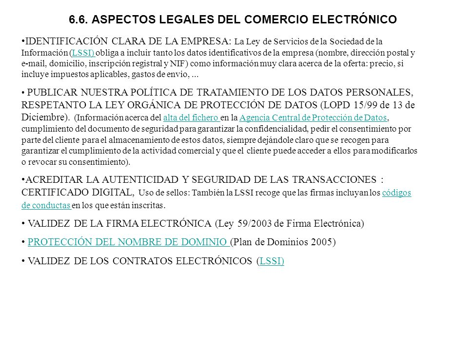 6.6. ASPECTOS LEGALES DEL COMERCIO ELECTRÓNICO