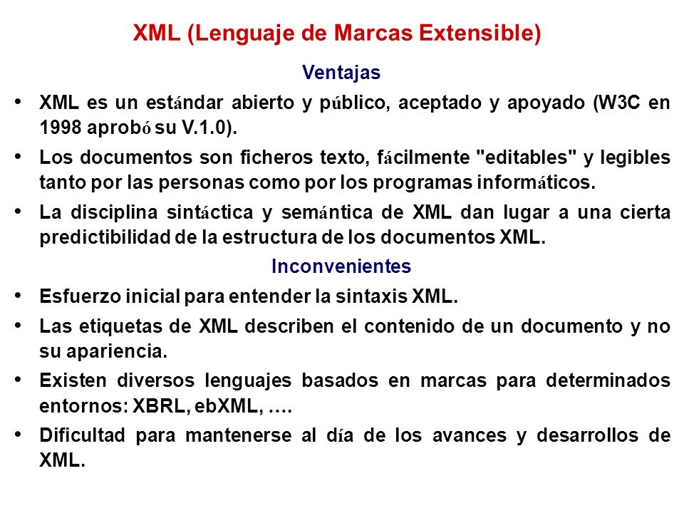 XML (Lenguaje de Marcas Extensible)