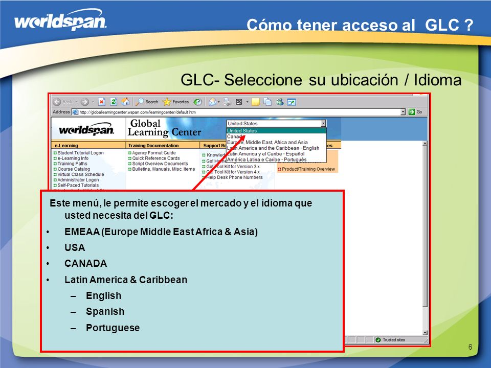 GLC- Seleccione su ubicación / Idioma
