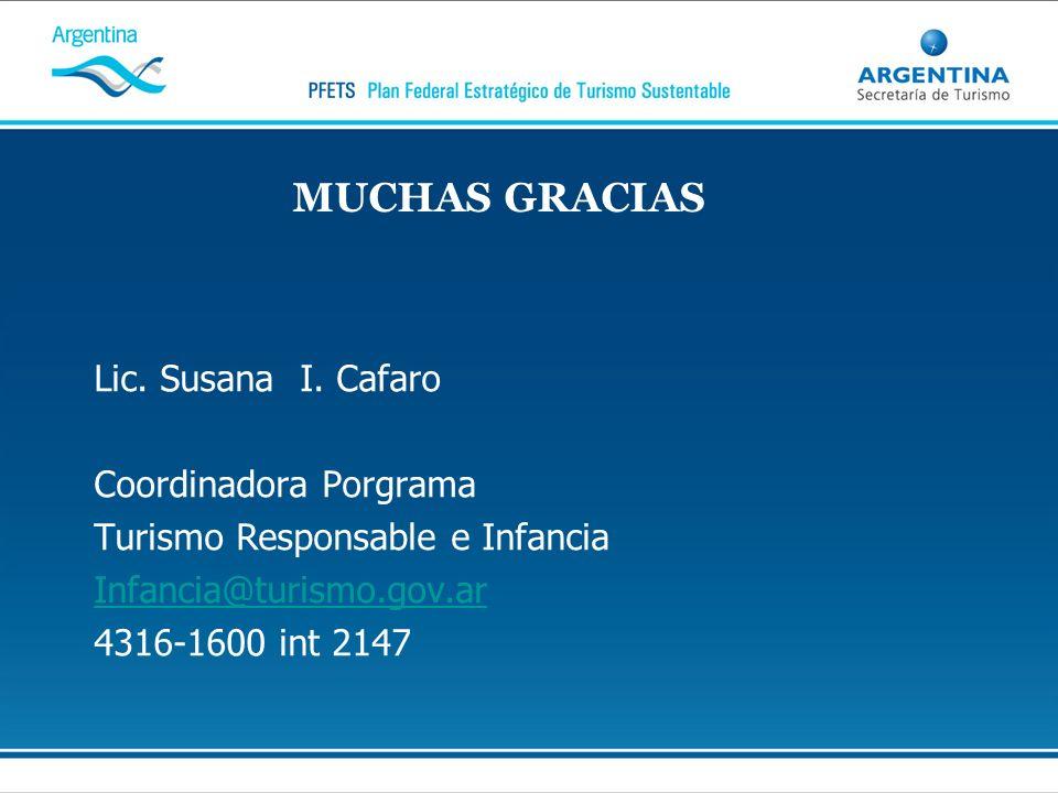 MUCHAS GRACIAS Lic. Susana I. Cafaro Coordinadora Porgrama
