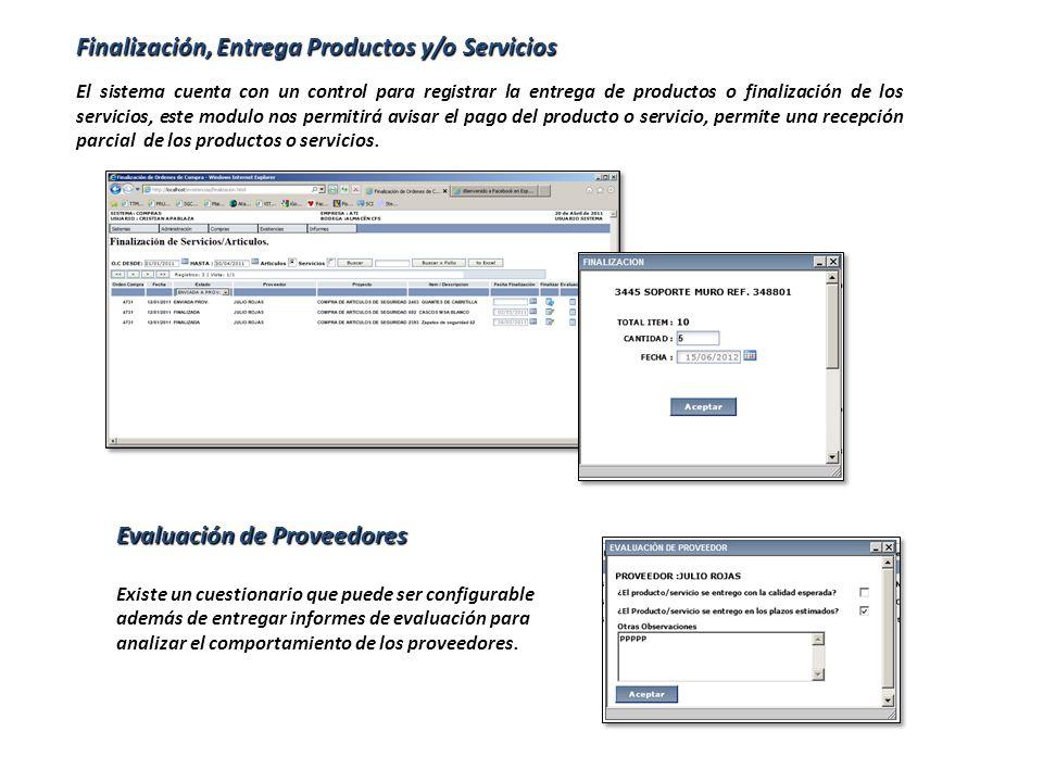 Finalización, Entrega Productos y/o Servicios