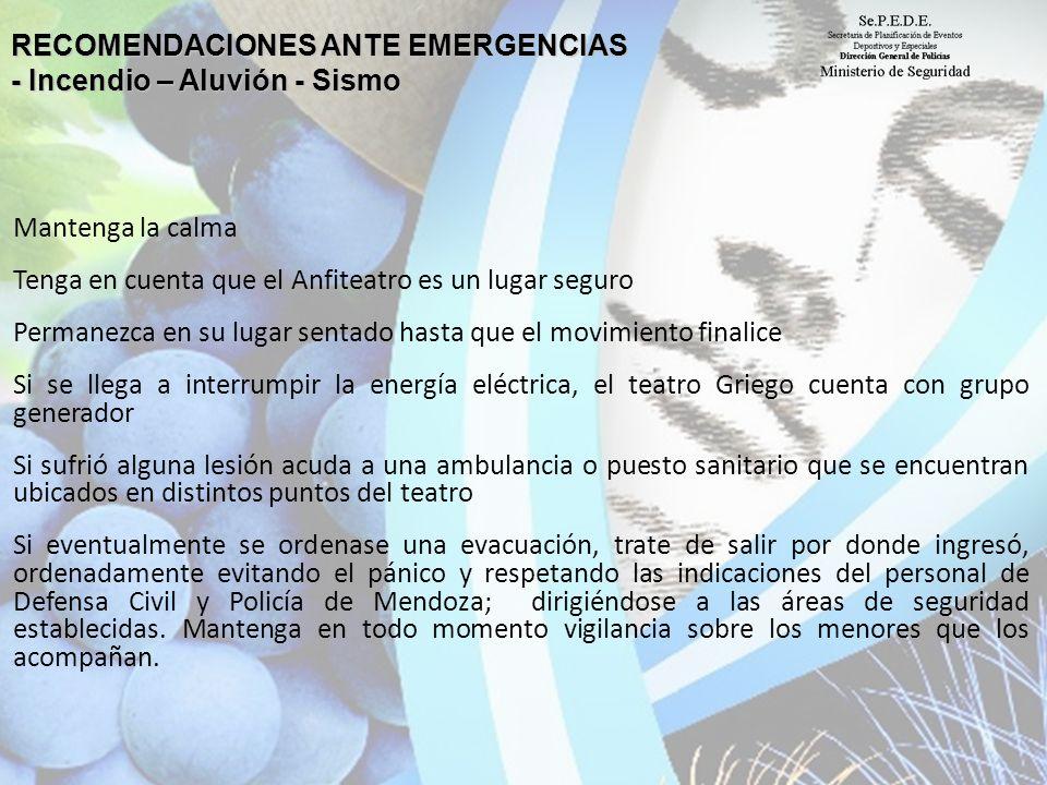RECOMENDACIONES ANTE EMERGENCIAS