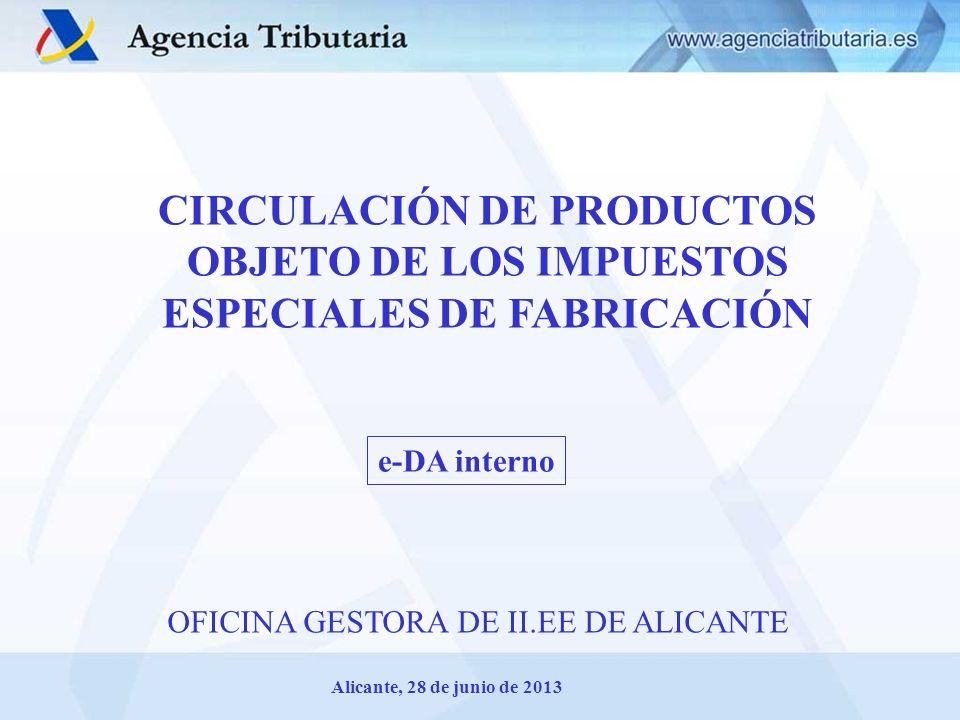 CIRCULACIÓN DE PRODUCTOS OBJETO DE LOS IMPUESTOS ESPECIALES DE FABRICACIÓN
