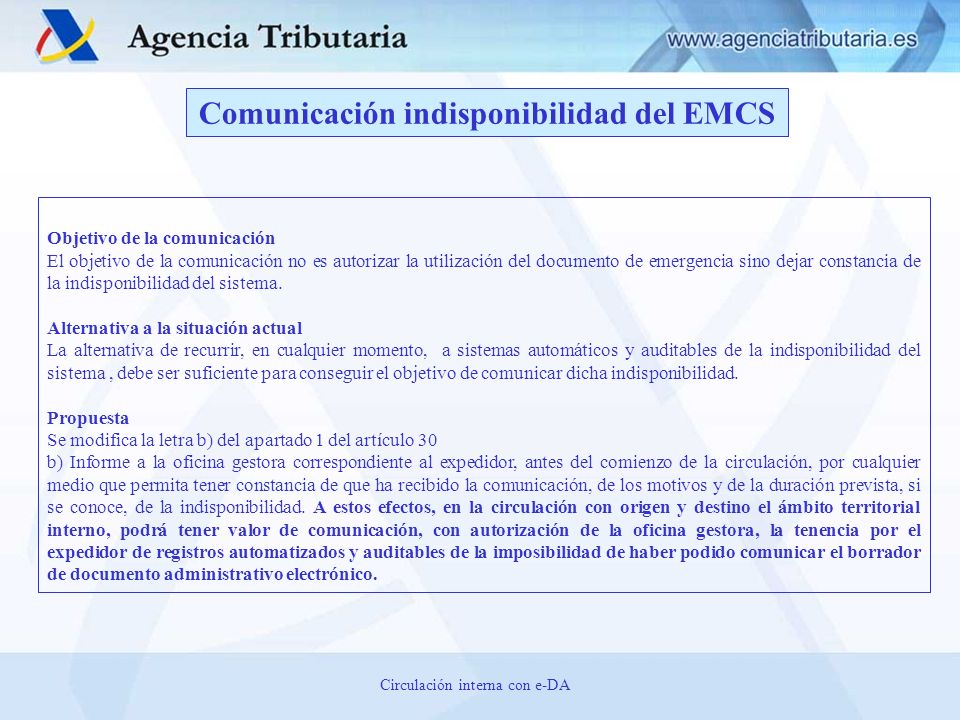 Comunicación indisponibilidad del EMCS