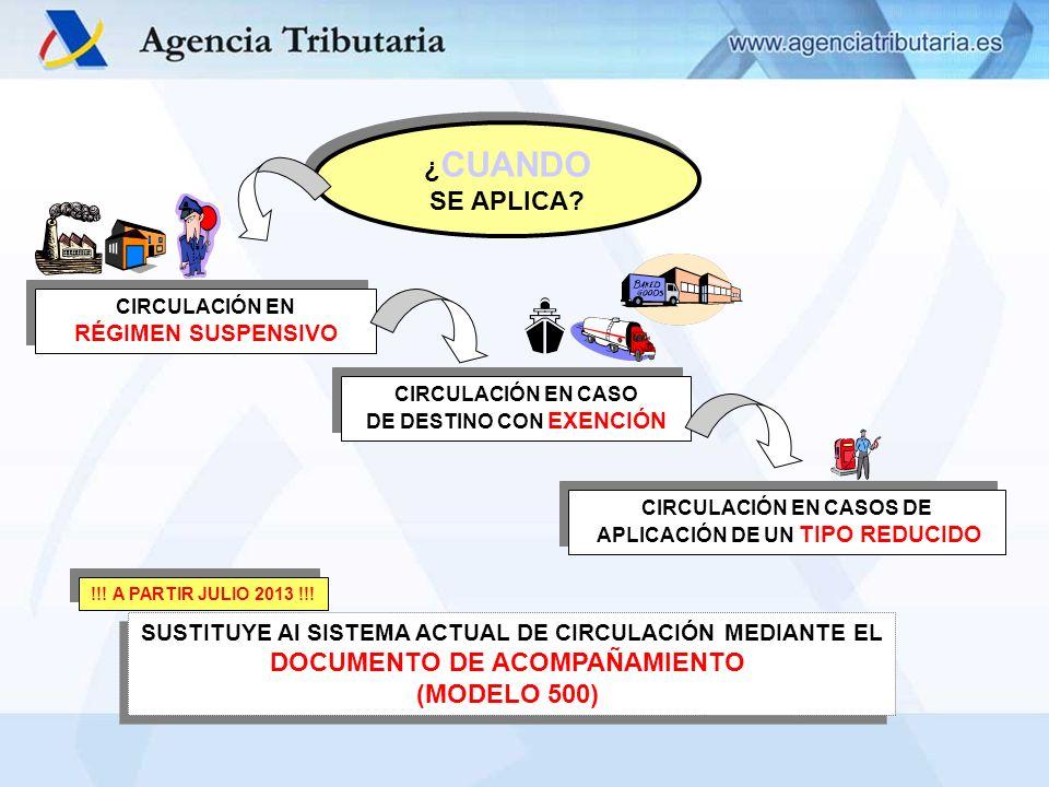 ¿CUANDO SE APLICA DOCUMENTO DE ACOMPAÑAMIENTO (MODELO 500)