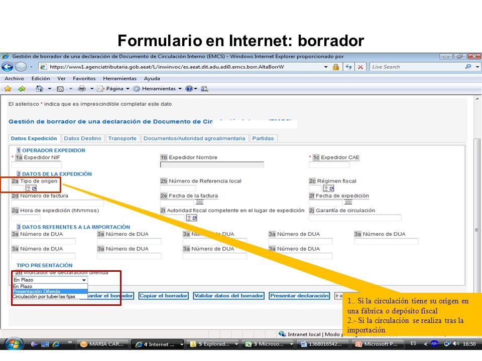 Formulario en Internet: borrador