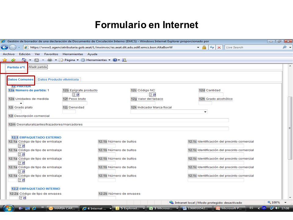 Formulario en Internet