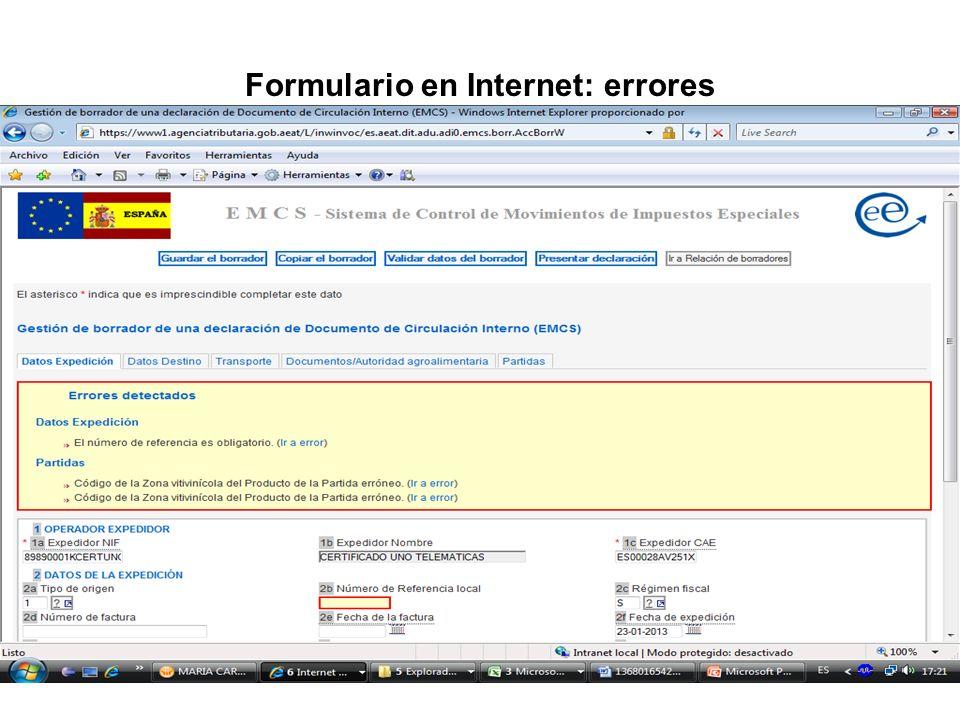 Formulario en Internet: errores