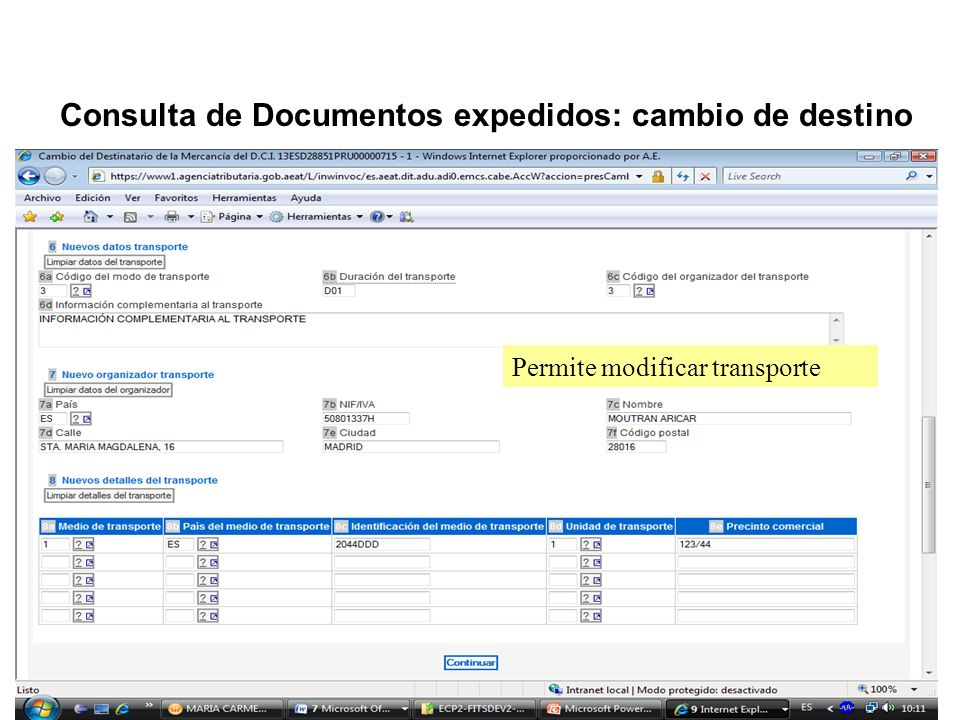 Consulta de Documentos expedidos: cambio de destino