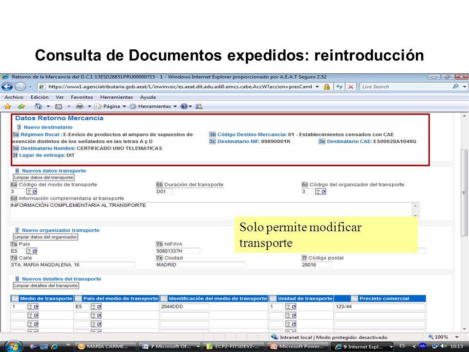 Consulta de Documentos expedidos: reintroducción