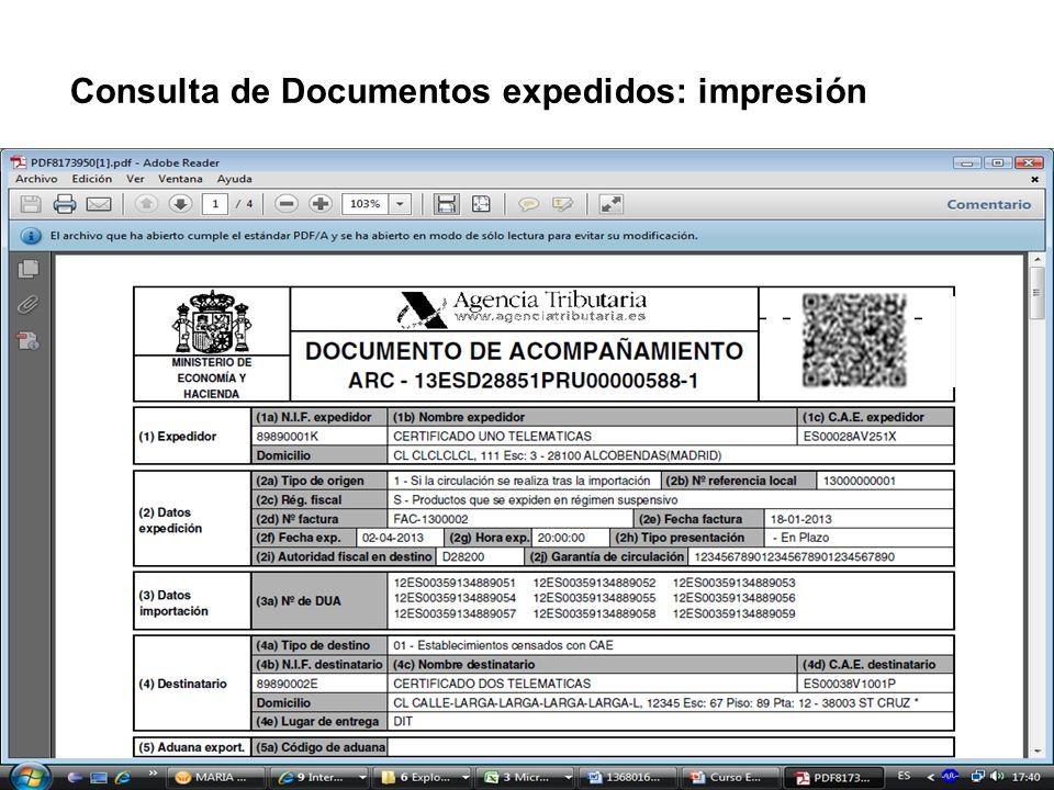 Consulta de Documentos expedidos: impresión