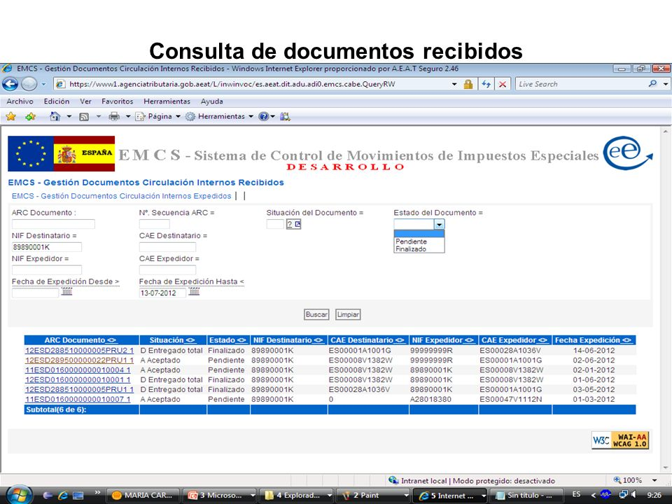 Consulta de documentos recibidos