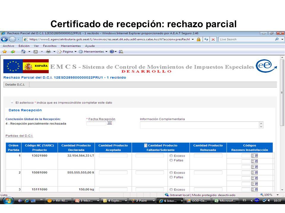 Certificado de recepción: rechazo parcial