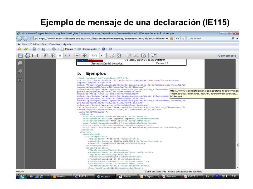 Ejemplo de mensaje de una declaración (IE115)