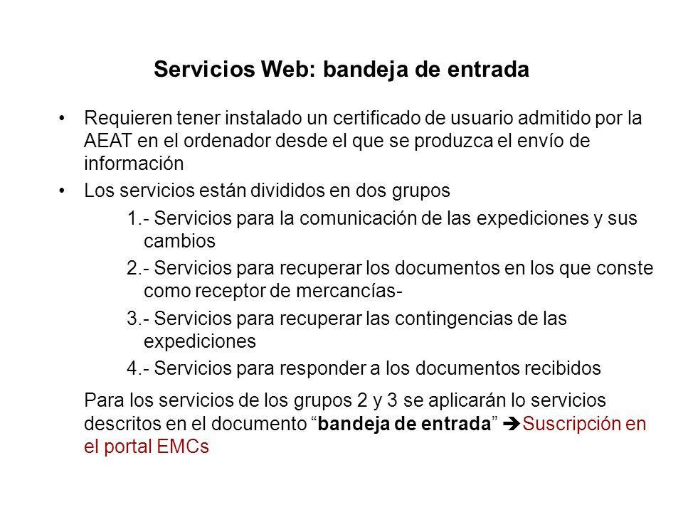 Servicios Web: bandeja de entrada
